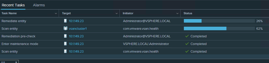 Remediation-of-the-vSAN-Witness-Appliance-to-vSphere-6.7-Update-1-Progresses Upgrade Stretched VMware vSAN Cluster to vSphere 6.7 Update 1