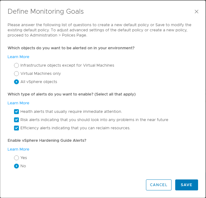 Selecting-options-for-the-Define-Monitoring-Goals-configuration-in-vRealize-Operations-Manager-7.0 VMware vRealize Operations 7.0 vCenter Connection and SMTP Configuration