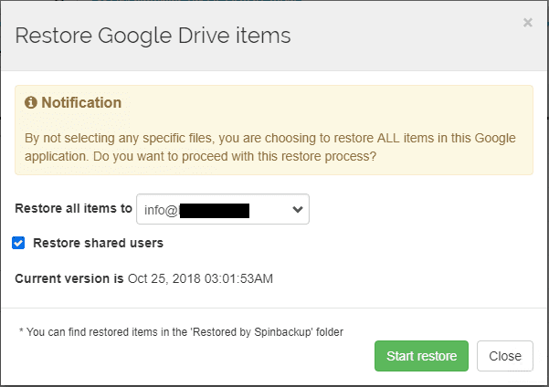 Spinbackup-allows-restoring-Google-Drive-Items-in-G-Suite Quick and Easy Google G Suite Backups and Security using Spinbackup