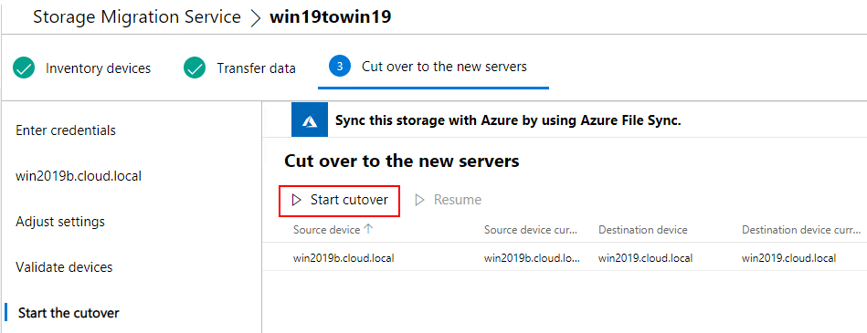 Start-the-cutover-process Migrate from Windows Server 2003 to Windows Server 2019 with Storage Migration