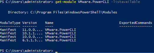Using-the-Get-Module-command-to-check-the-available-versions VMware vSphere PowerCLI 11.0 Released with New Features and Updating