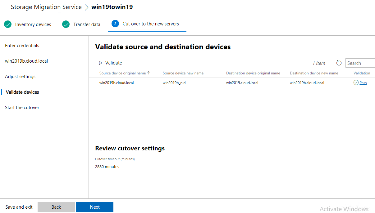 Validate-source-and-destination-for-cutover Migrate from Windows Server 2003 to Windows Server 2019 with Storage Migration