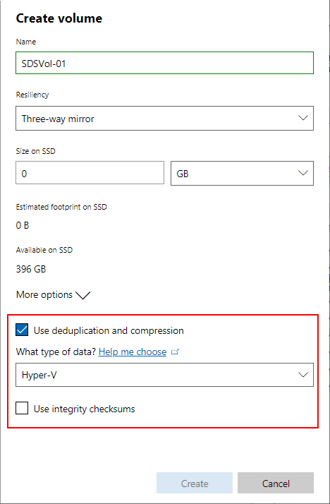 Windows-Server-2019-Storage-Spaces-Direct-Deduplication-compression-and-integrity-options Create Windows Server 2019 Storage Spaces Direct Volumes in Windows Admin Center