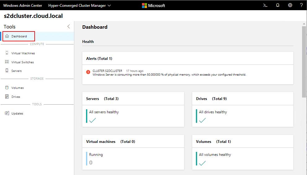Windows-Server-2019-Storage-Spaces-Direct-Windows-Admin-Center-dashboard Create Windows Server 2019 Storage Spaces Direct Volumes in Windows Admin Center