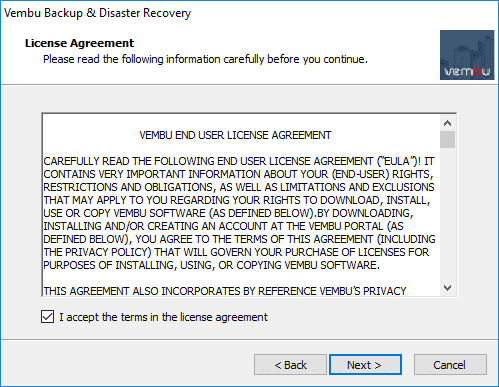 Accepting-the-Vembu-BDR-Suite-v4.0-EULA Backup and Protect Hyper-V Clusters with Vembu BDR Suite v4.0