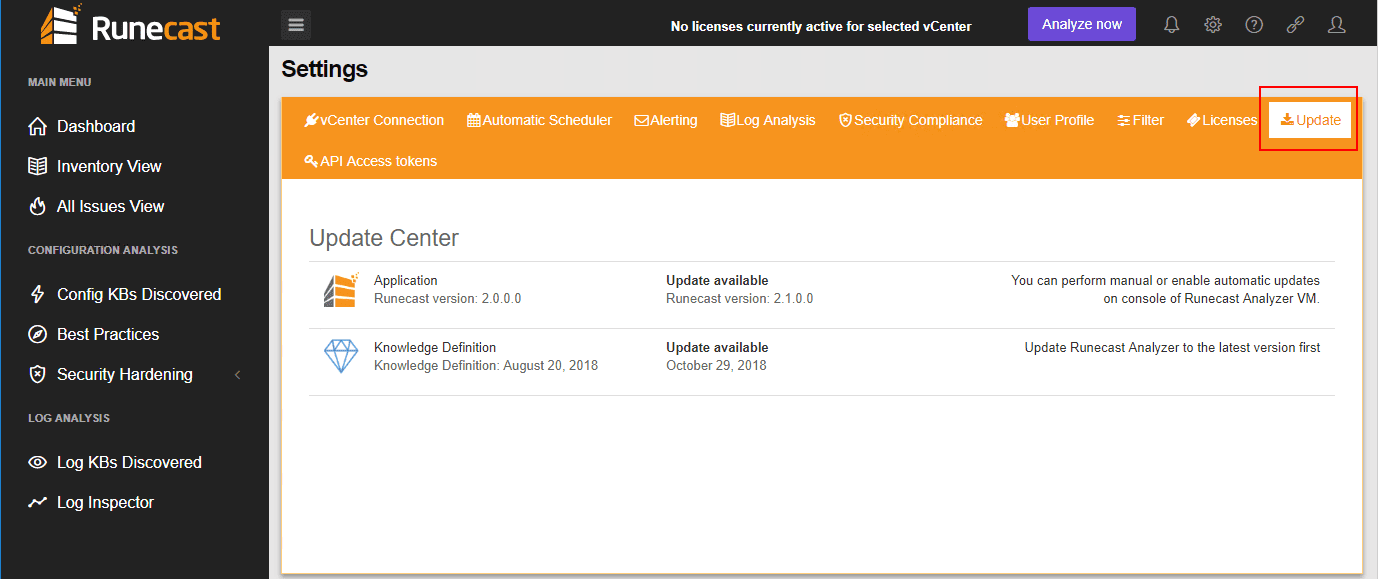 Check-for-updates-in-Runecast-Settings Runecast Analyzer 2.1 Released with HIPAA Scan and Management Report