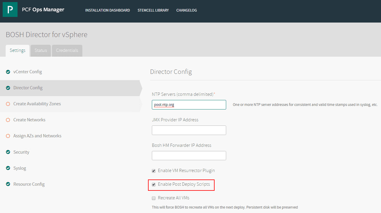 Configuring-the-Director-Config-for-BOSH-Director-for-vSphere Getting Started with VMware Pivotal Container Service PKS PCF Ops Manager Install