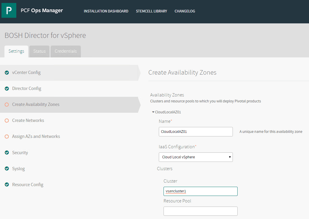 Creating-Availability-Zones-in-the-BOSH-Director-for-vSphere Getting Started with VMware Pivotal Container Service PKS PCF Ops Manager Install
