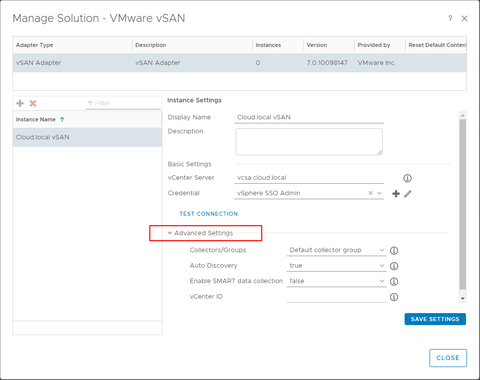Looking-at-advanced-settings-in-the-vCenter-connection-for-vSAN-monitoring-in-vROps-7.0 Configure VMware vSAN Monitoring with vRealize Operations 7.0