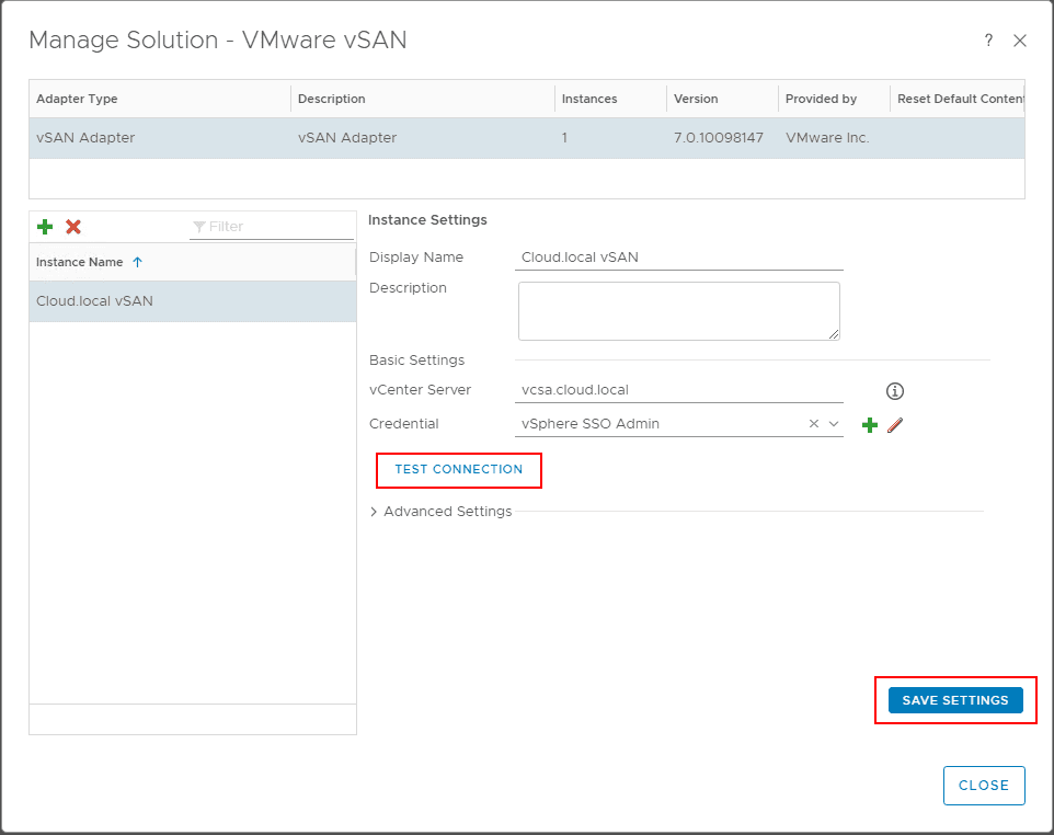 Testing-or-saving-the-configuration-for-the-vSAN-adapter-instance-in-vRealize-Operations-7.0 Configure VMware vSAN Monitoring with vRealize Operations 7.0