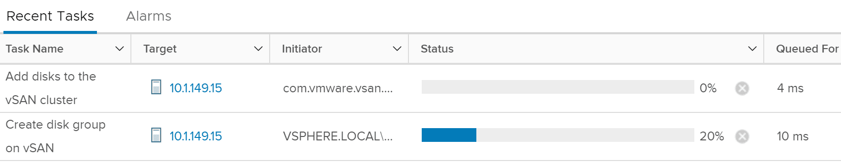 The-task-to-add-disks-to-the-vSAN-cluster-begins Replacing VMware vSAN Cache Disk and Resyncing vSAN Objects