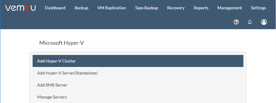 The-various-Hyper-V-configuration-options-to-add-to-Vembu-BDR-Suite-v4.0 Backup and Protect Hyper-V Clusters with Vembu BDR Suite v4.0