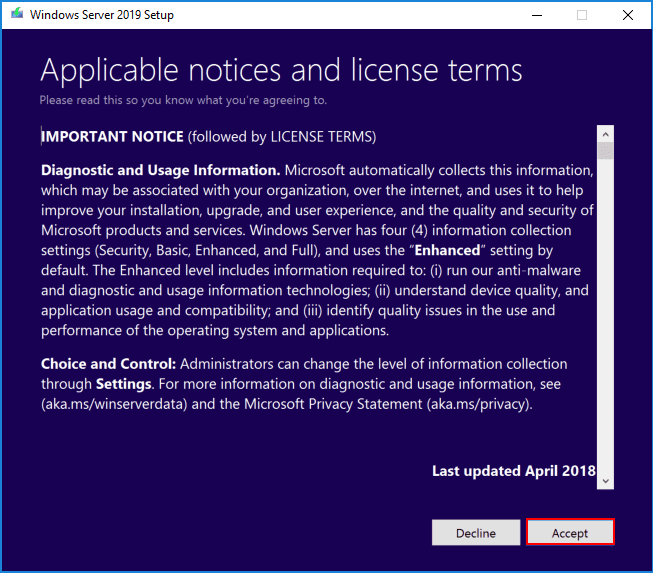 Accepting-the-EULA-and-terms-of-the-Windows-Server-2019-upgrade Upgrading Windows Server 2016 Domain Controller DC to Windows Server 2019