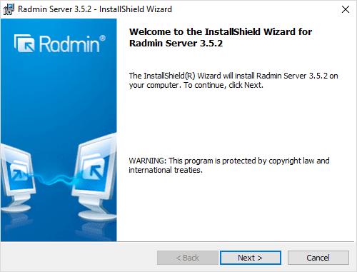 Beginning-the-Radmin-Server-installer-3.5.2 Radmin Windows 10 Remote Viewing Support and Console Control Utility