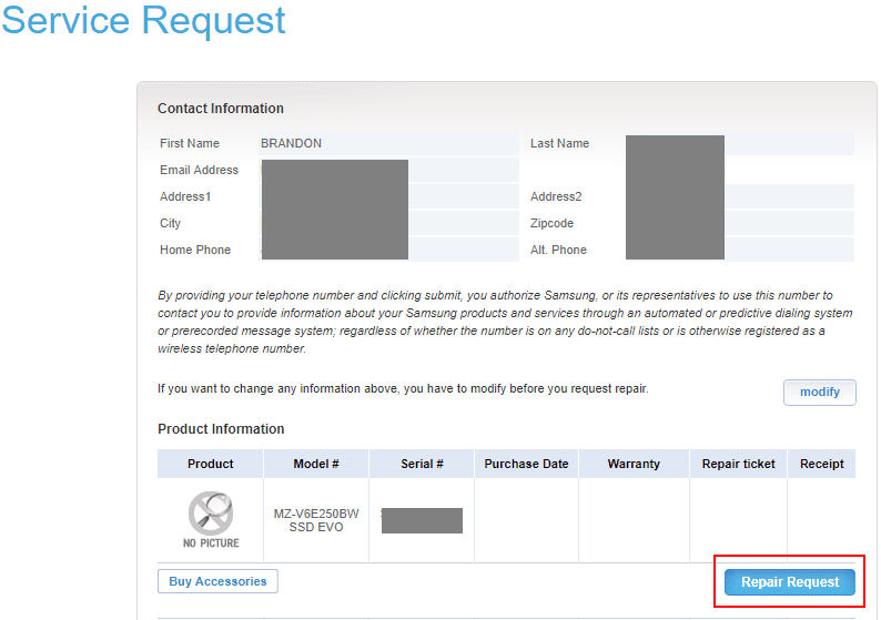 Beginning-the-Repair-Request-Service-Request-webform-for-Samsung-NVMe-RMA Create Samsung NVMe SSD RMA Return Request Online