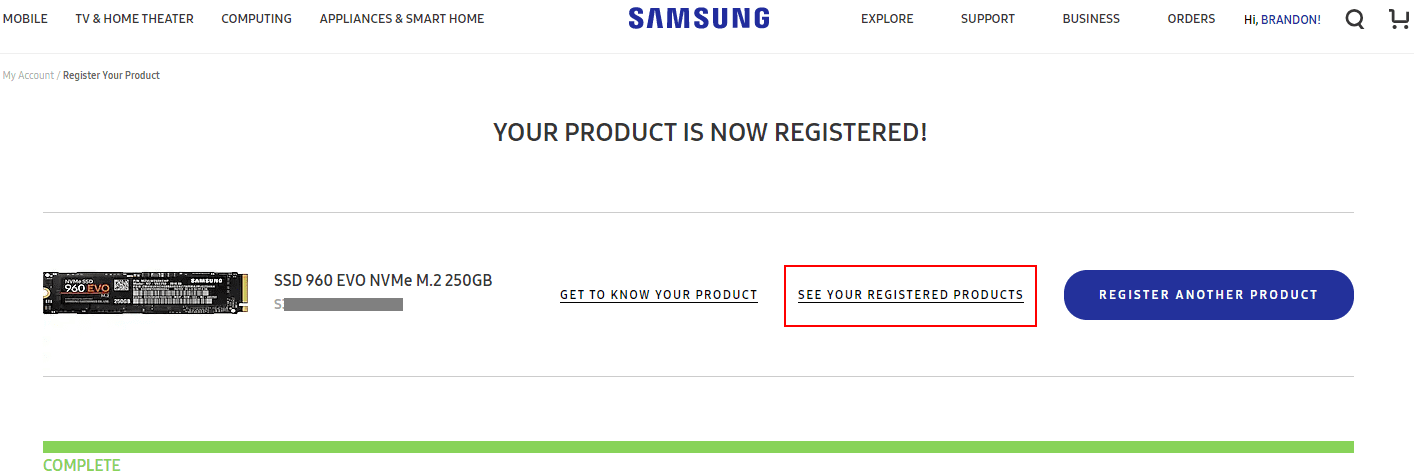 Choose-to-see-your-registered-Samsung-products-for-RMA-request-repair-purposes Create Samsung NVMe SSD RMA Return Request Online