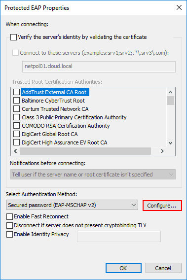 Configure-the-Protected-EAP-authentication-method-in-the-PEAP-properties-of-Windows-10-802.1x-configuration Configure Windows 10 for 802.1X User Authentication