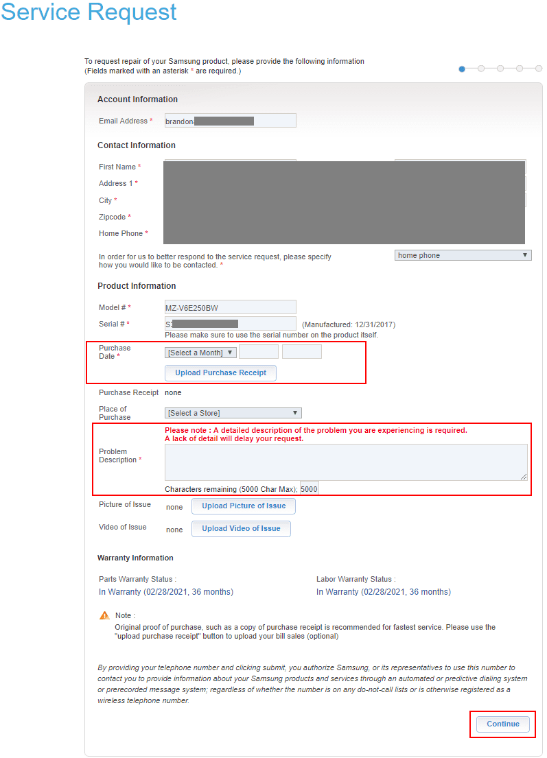 Confirming-contact-information-purchase-date-and-proof-of-purchase-of-the-Samsung-NVMe-drive-for-RMA-repair-request-1 Create Samsung NVMe SSD RMA Return Request Online