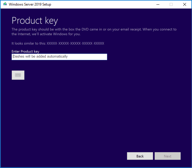 Enter-the-product-key-for-your-Windows-Server-2019-installation Upgrading Windows Server 2016 Domain Controller DC to Windows Server 2019
