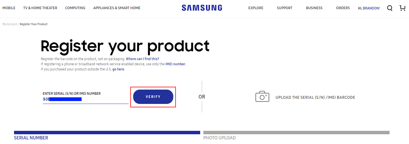 Entering-the-serial-number-for-the-Samsung-NVMe-drive-for-RMA-repair-request-purposes Create Samsung NVMe SSD RMA Return Request Online