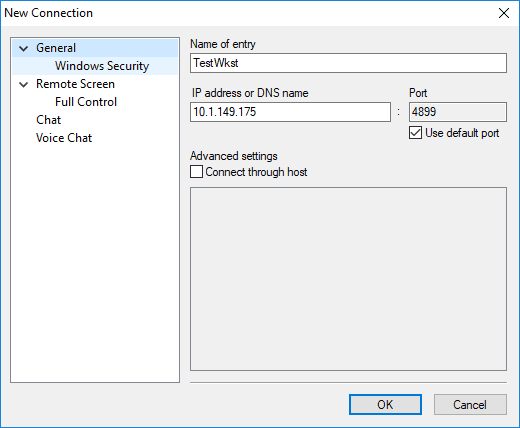 Populating-the-new-connection-information-in-Radmin-Viewer Radmin Windows 10 Remote Viewing Support and Console Control Utility