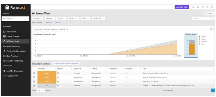 Scan VMware Horizon for Issues or Errors using Runecast Analyzer