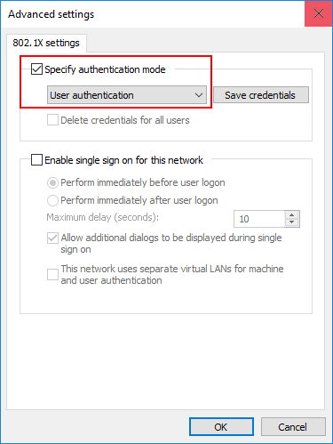 Specifying-the-authentication-mode-for-802.1X-authentication-in-Windows-10 Configure Windows 10 for 802.1X User Authentication