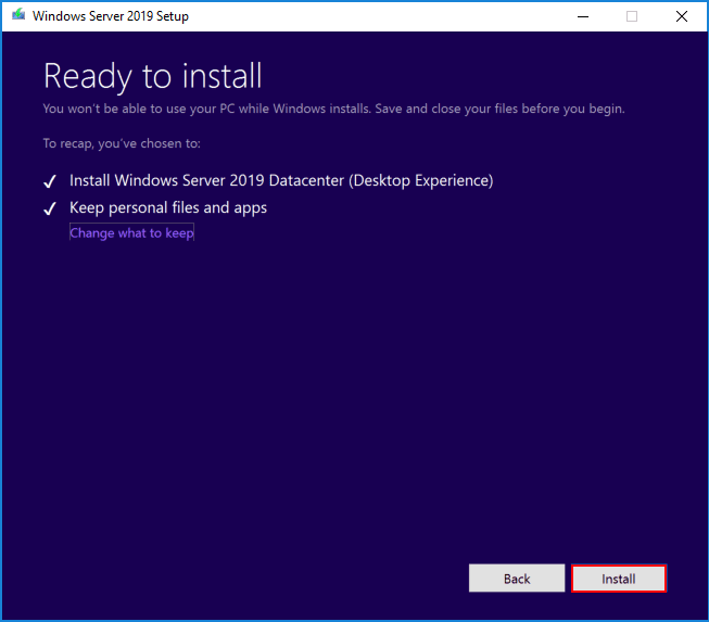 Windows-Server-2019-upgrade-is-ready-to-install Upgrading Windows Server 2016 Domain Controller DC to Windows Server 2019