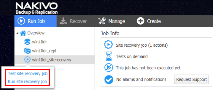 Choosing-to-test-or-run-the-failover-on-the-VMware-VM-using-NAKIVO-Site-Recovery-Job Automate Network Changes in DR for Replicated VMs with NAKIVO