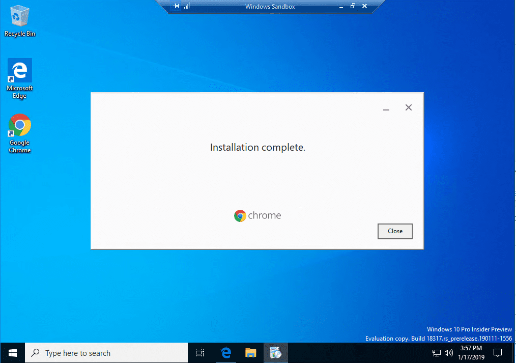 Chrome-installation-completes-inside-the-Windows-10-Sandbox-app Installing New Windows 10 Sandbox Feature Networking Resources Browsers Security