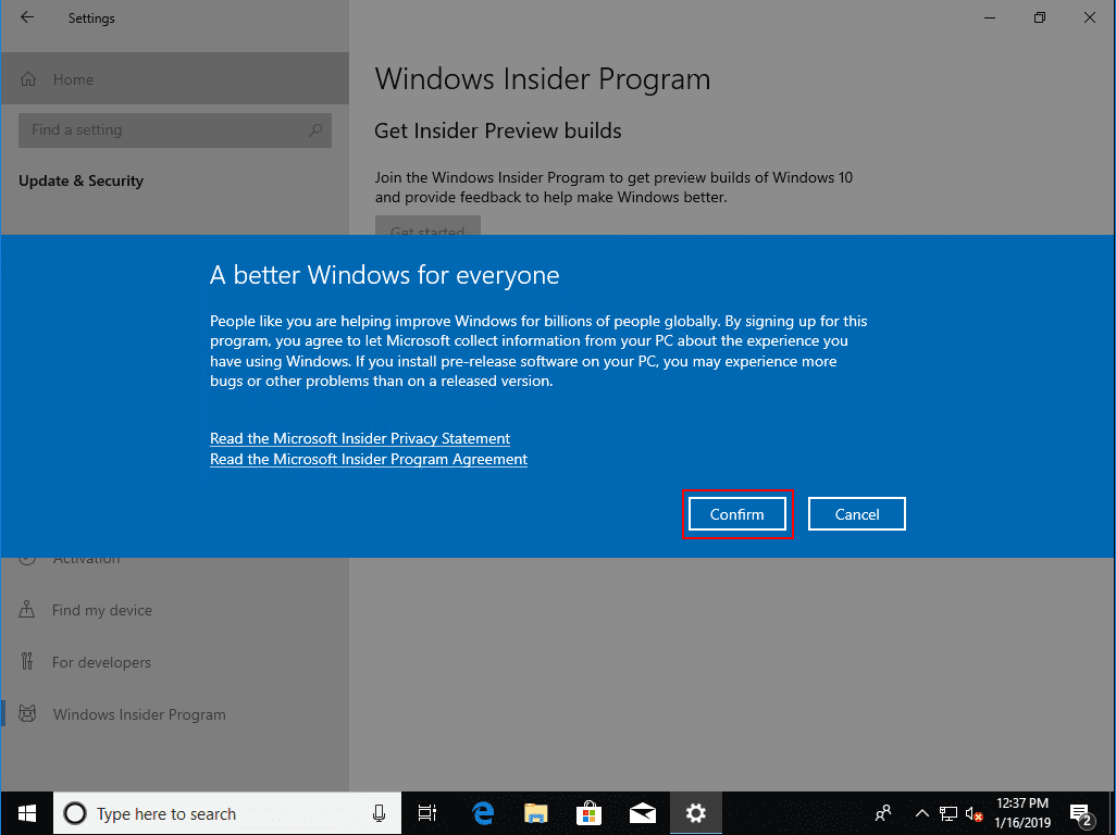 Confirm-the-diagnostic-and-other-data-collection-agreement Installing Windows 10 Insider Preview 18317 New Features No ISO