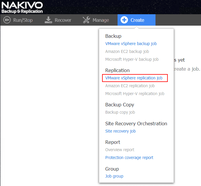 Creating-a-new-NAKIVO-Backup-Replication-virtual-machine-replication-job Automate Network Changes in DR for Replicated VMs with NAKIVO