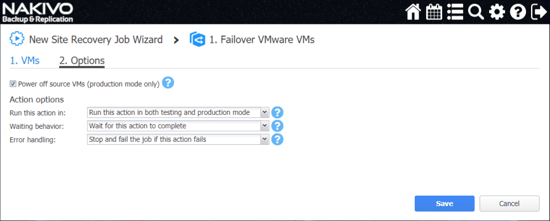 Failover-VMware-VMs-options-in-NAKIVO Automate Network Changes in DR for Replicated VMs with NAKIVO