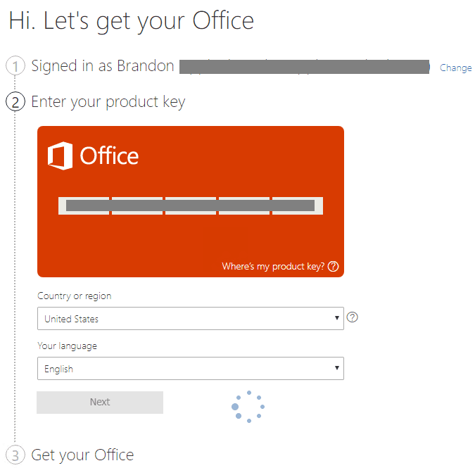 Filling-in-the-product-key-country-and-language-for-Office-365 Office 2019 vs Office 365 Differences and Installation