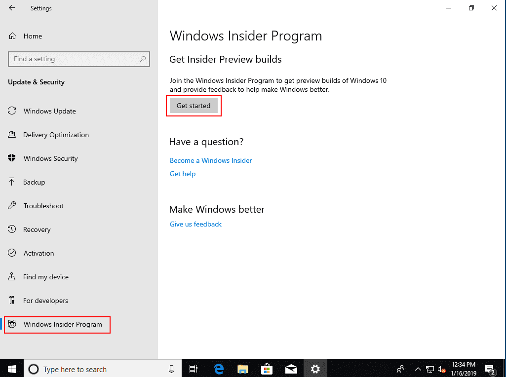 Getting-started-with-the-Windows-Insider-Preview-settings-in-Windows-10-1809 Installing Windows 10 Insider Preview 18317 New Features No ISO
