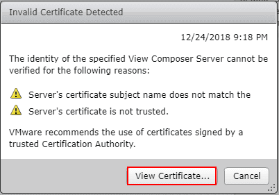 Invalid-certificate-detected-on-the-Horizon-7.7-Composer-Server Connect VMware Horizon 7.7 Connection Server to vCenter Server