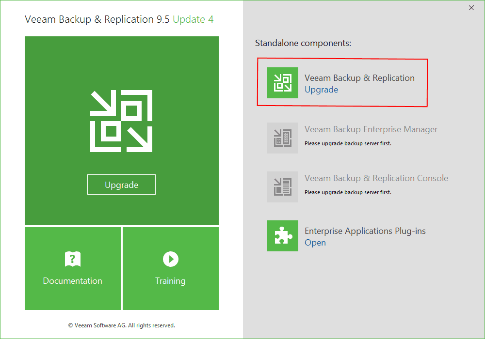 Launching-the-Veeam-Backup-Replication-9.5-Update-4-Upgrade-Process Veeam Backup and Replication Update 4 Released New Features Upgrade Process