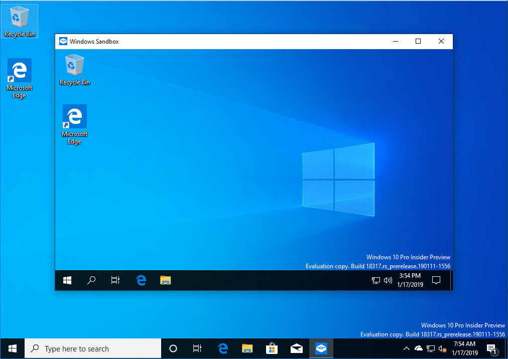 New-Windows-10-Sandbox-app-launched-in-Windows-10-Insider-Preview-Build-18317 Installing New Windows 10 Sandbox Feature Networking Resources Browsers Security