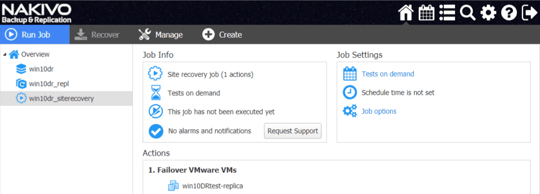 New-site-recovery-orchestration-job-is-created-successfully-and-ready-to-run Automate Network Changes in DR for Replicated VMs with NAKIVO