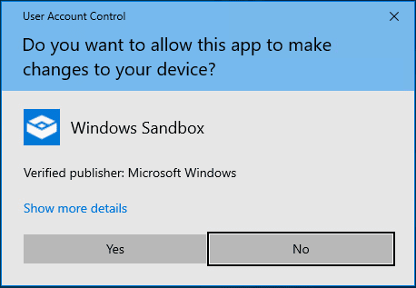 Security-prompt-for-launch-of-Windows-10-sandbox Installing New Windows 10 Sandbox Feature Networking Resources Browsers Security