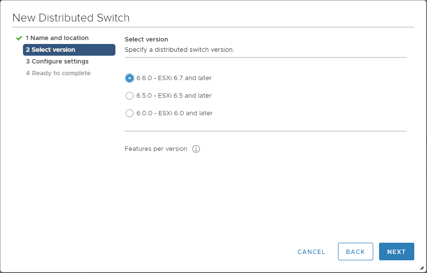 Select-the-version-of-the-vSphere-Distributed-Switch-VDS Create VMware vSphere Distributed Switch VDS for NSX Data Center
