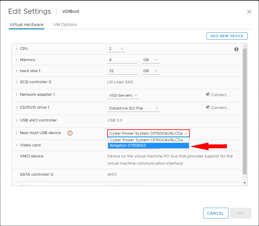 Selecting-the-USB-device-connected-to-the-ESXi-host-that-you-want-to-passthrough Boot ESXi Virtual Machine From Passthrough USB