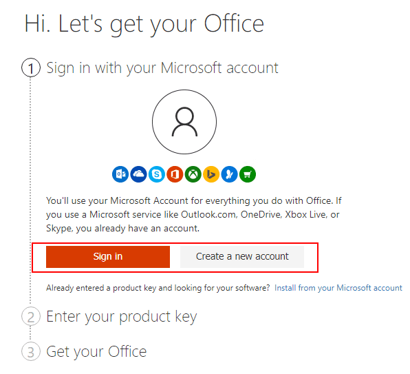 Signing-in-with-a-Microsoft-account-to-install-Office-365 Office 2019 vs Office 365 Differences and Installation