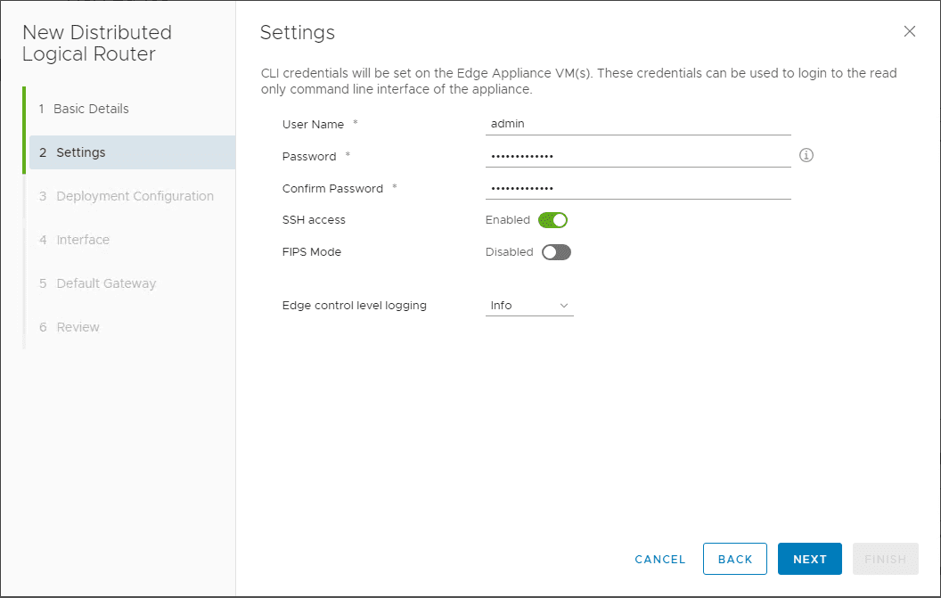 Under-settings-configuring-password-SSH-access-and-Loggin-level VMware NSX Layer 2 Bridge Configuration
