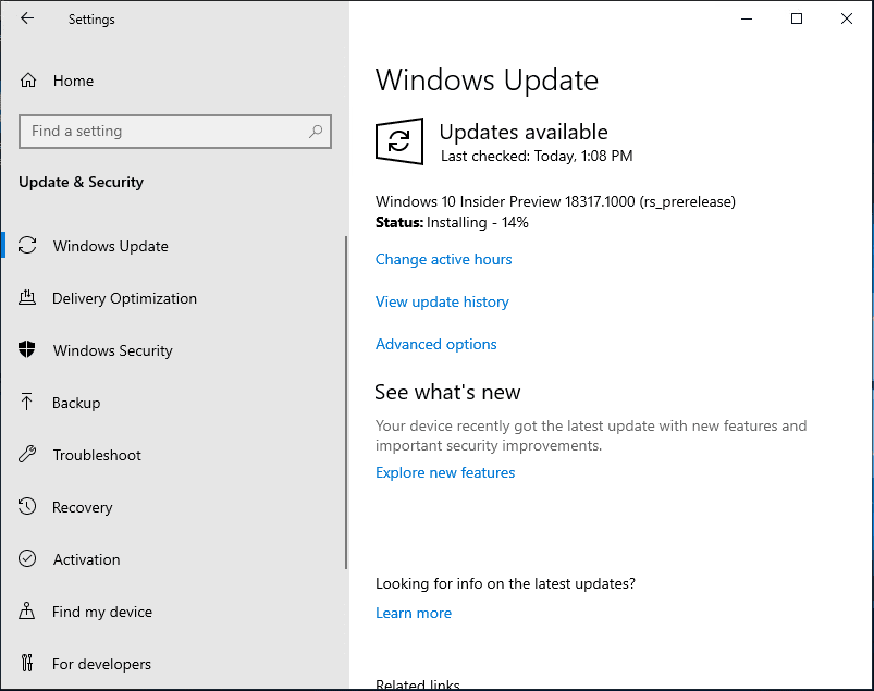 Windows-Insider-Preview-Build-18317-installing Installing Windows 10 Insider Preview 18317 New Features No ISO
