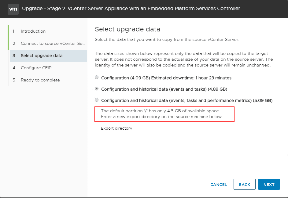 Disk-space-message-when-choosing-the-data-to-migrate-over VMware vSphere VCSA 6.5 to VCSA 6.7 Postgres Upgrade Error Fix