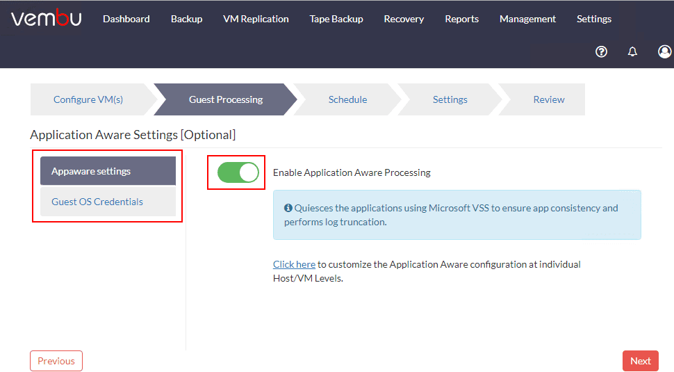 Select-Application-Aware-settings-for-the-virtual-machine Vembu BDR Suite 4.0 Product Review