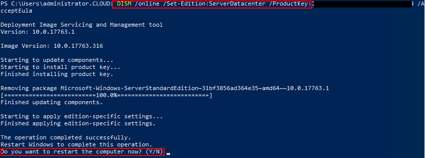 Upgrading-to-the-selected-target-edition-using-PowerShell-DISM-command-in-Windows-Server-2019 Upgrade Windows Server 2019 Evaluation to Full Version Standard to Datacenter