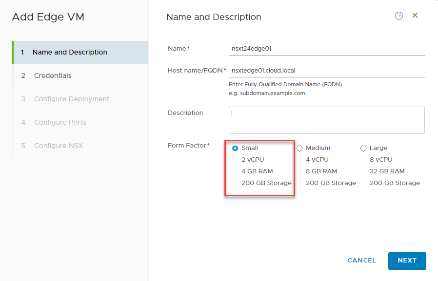 Adding-Edge-VM-Wizard-choosing-name-and-deployment-size Deploy VMware NSX-T 2.4 Edge Transport Appliance VM