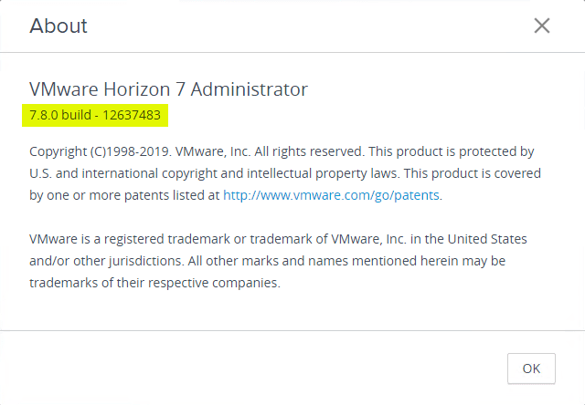 Checking-the-About-Version-from-the-VMware-Horizon-7.8-Connection-Server-Horizon-Console Upgrading to Horizon 7.8 Connection Server